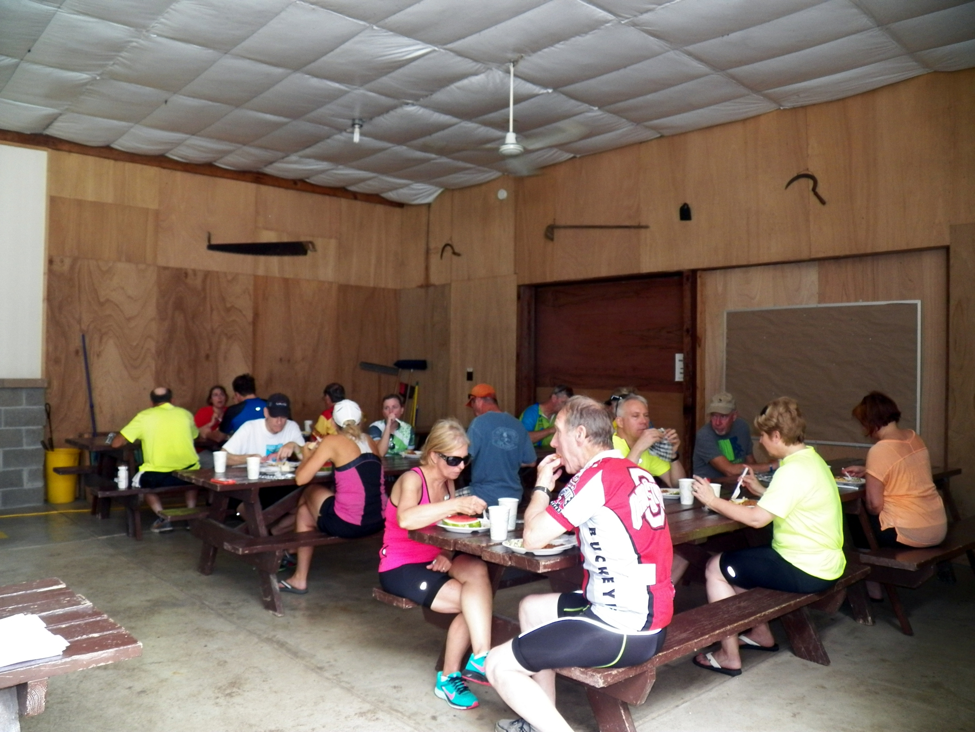 Enjoying lunch after a day's bike ride